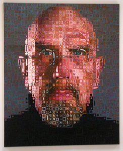 Chuck Close's self-portrait. Photo by John Weiss