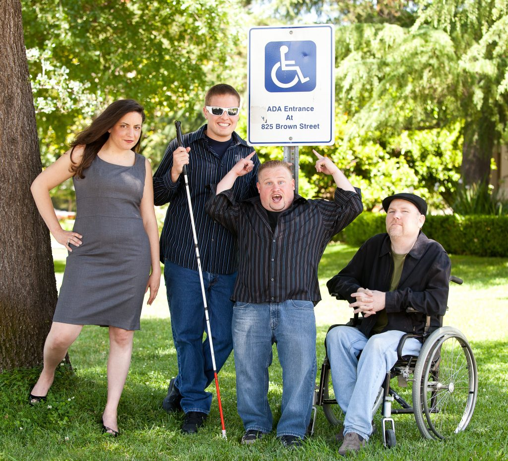 Nina G. with her comedy troupe, the Comedians With Disabilities Act.