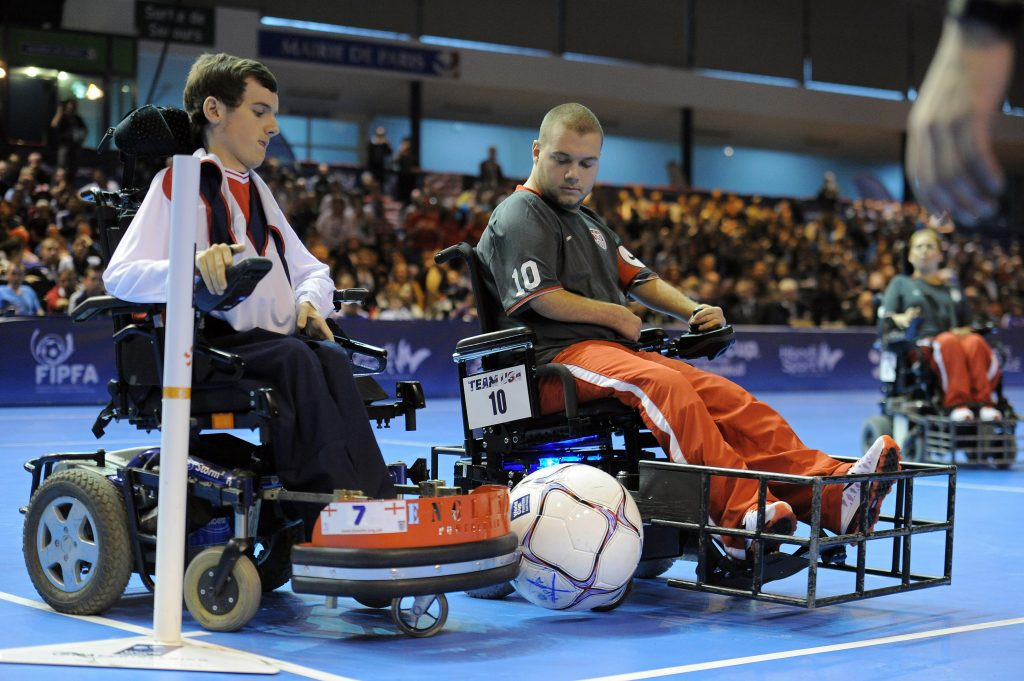 Power soccer is played with special, motorized wheelchairs. Photo: Escot Goodman