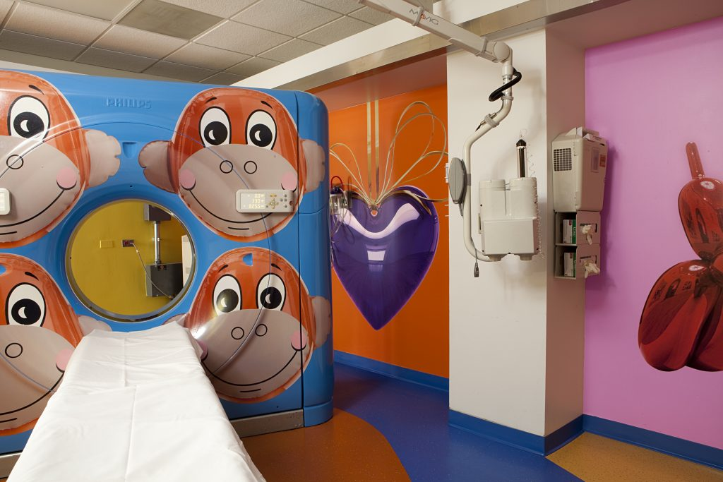 Jeff Koons painted the CAT scan room at Advocate's Hospital with monkeys, hearts, and dogs.