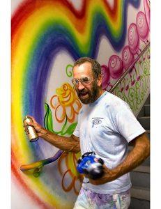 Kenny Scharff tags a hallway at Kings County Hospital