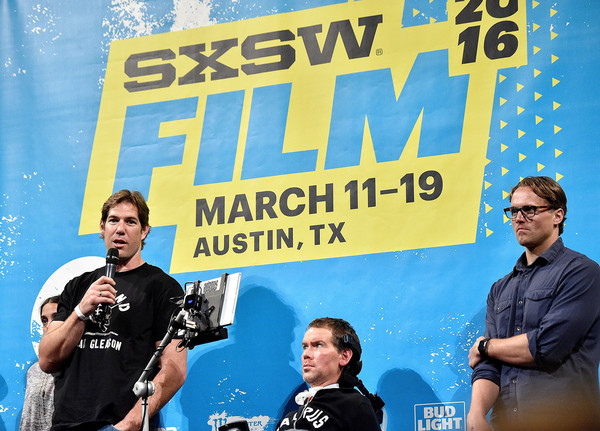 Steve and friend Scott Fujita debuting Gleason at SXSW.
