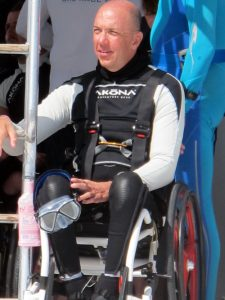 Photo of Davis Hosick on the Set of The Current, a documentary about disabled divers.