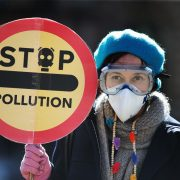 "Woman wearing a blue beret and a paper air mask holds up a sign reading ""Stop Pollution"""