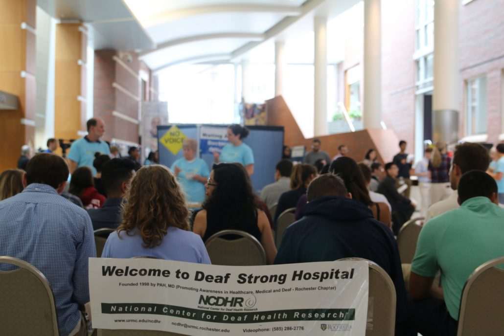 A group of deaf medical advocates gather for the Deaf Strong Hospital
