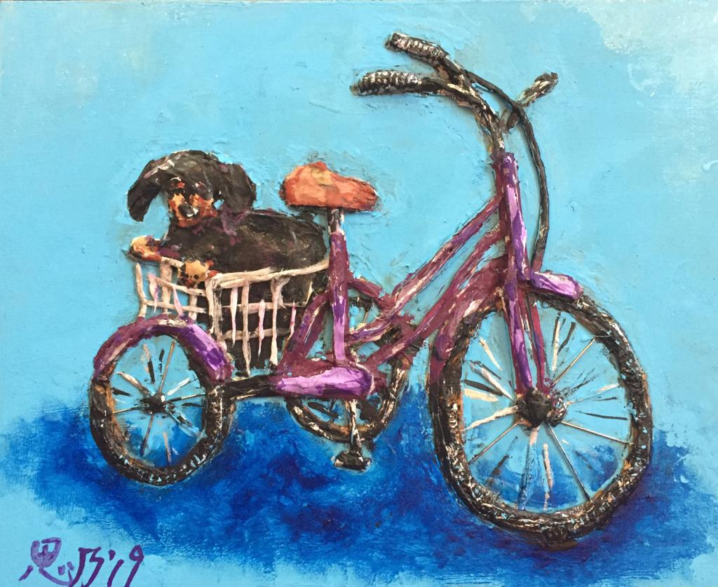 A painting by Shino Watabe of a dachshund in a bicycle basket.