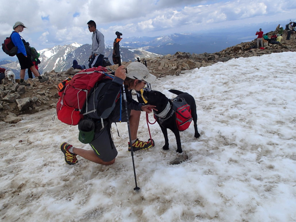 A hiker on one knee, petting his black guide dog, on a snow hike.